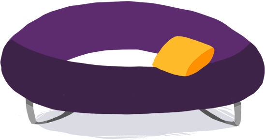 Purple eclipse shaped groovy couch