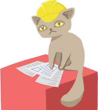 violet the cat sitting on red box with papers wearing construction hard hat