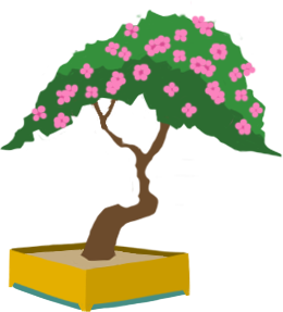 Bonsai tree with flowers