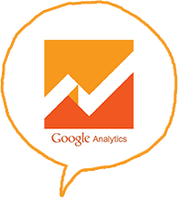 Speech bubble with Google Analytics logo