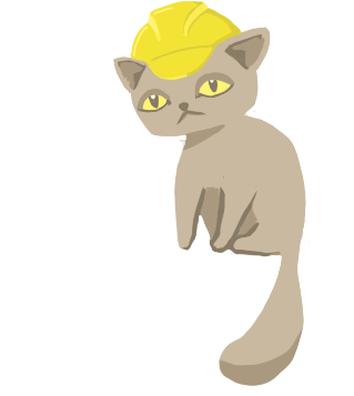 Violet the cat wearing construction hard hat