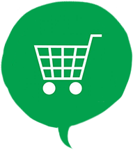 Speech bubble with online shopping cart icon